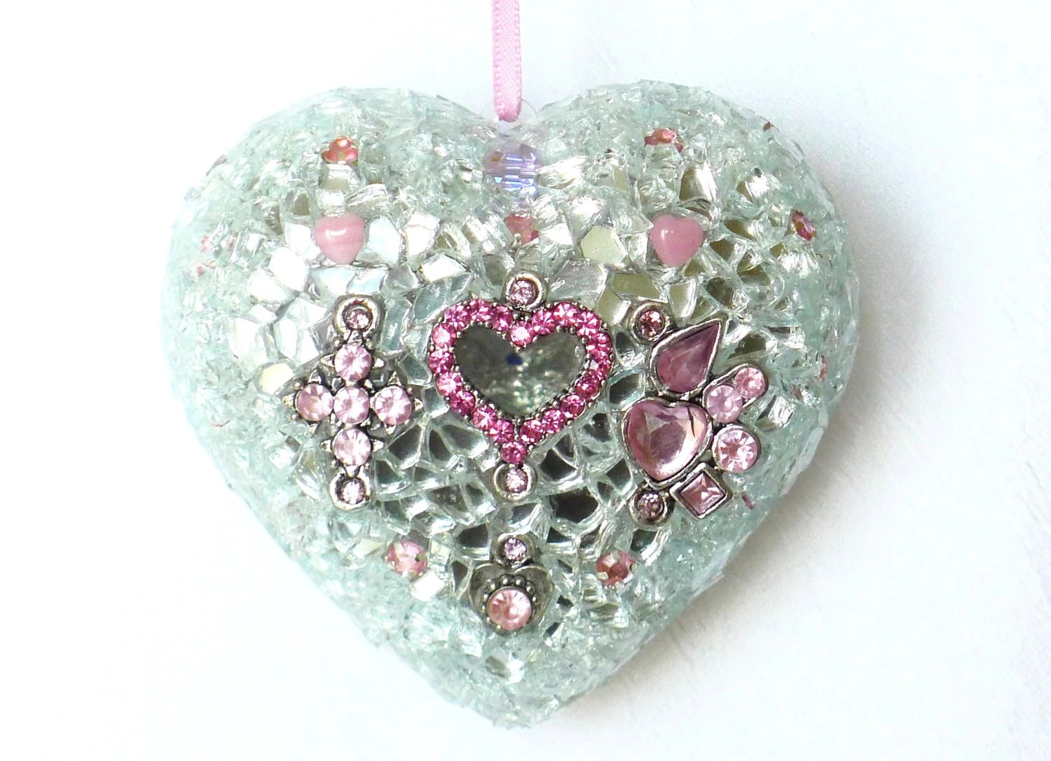 valentines day wedding sparkling decoration jewelry heart, deco mosaic, pink silver, gift idea for her - LonasART