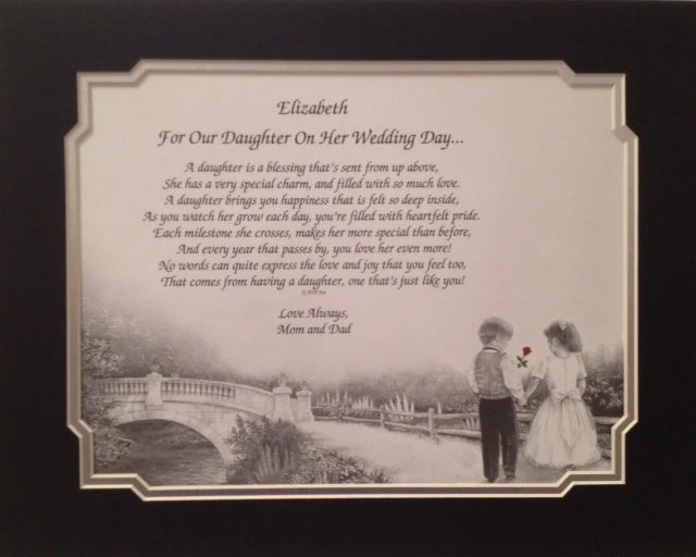 Personalized Wedding Gift To Our Daughter From Mom And Dad