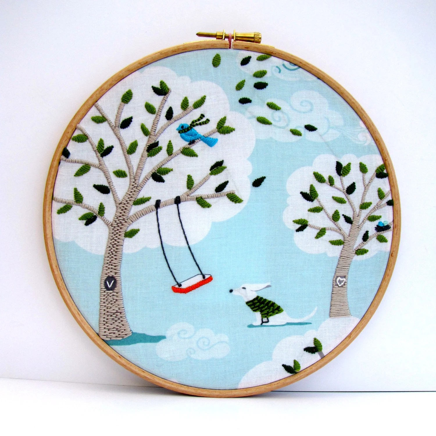 Hand Stitched Embroidery Picture.  Hoop Art. Aqua & Green with Swing and Dog. Personalise. Windy Day 8 x 8 inch.  by mirrymirry - mirrymirry