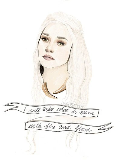 Daenerys Targaryen watercolour portrait PRINT Game of Thrones