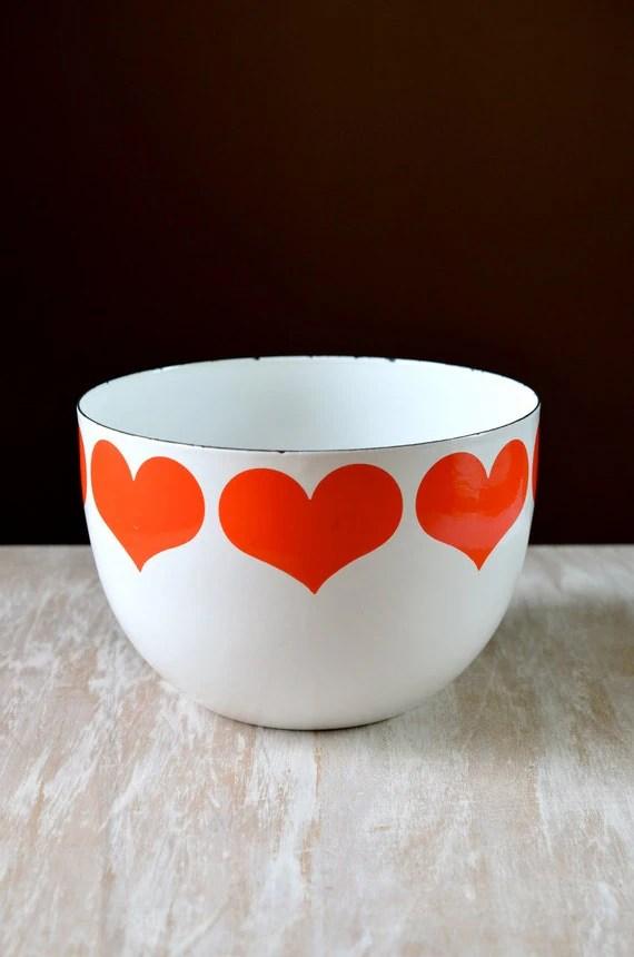 Vintage Finel Finland Enamel Heart Bowl By Kaj Franck Red