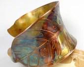 Etched and Hammered Cuff Bracelet, Womens Copper Cuff, Rustic Copper Leaf Cuff, Leaf, Colorful Heat Patina, Fall Bracelet- Autumn Leaf - FebraRose