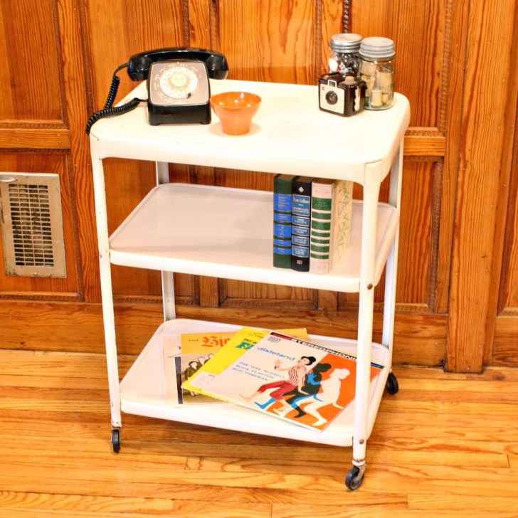 Vintage Metal Cart Serving Kitchen Cosco White