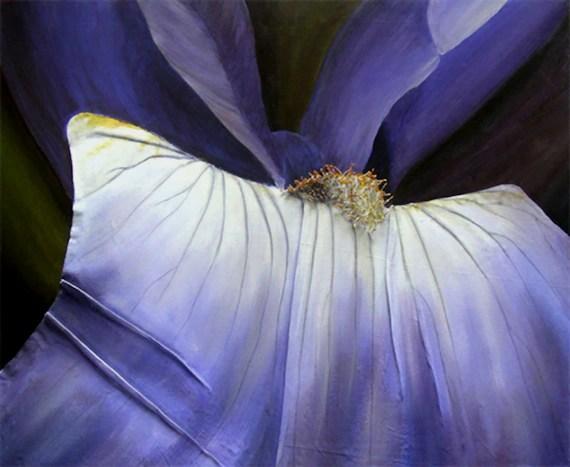 Iris 3D Painting  Macro View of Purple Flower Constructed in Iris 3D Painting - Macro View of Purple Flower Constructed in Fabric & String - Made to Order