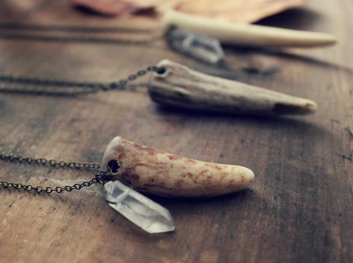 Of Forest and Labyrinth. Genuine Antler and Quartz Crystal Necklace. - cloven
