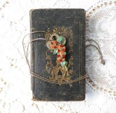 Upcycled Vintage Key Embellished with Tangerine Orange Flowers Including Rhinestones and Green Glass Leaves Vintage Jewelry Necklace - glassbeadtreasures