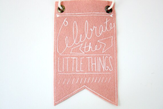Mini-Banner wall hanging, blush pink wool blend felt, screen print in white ink