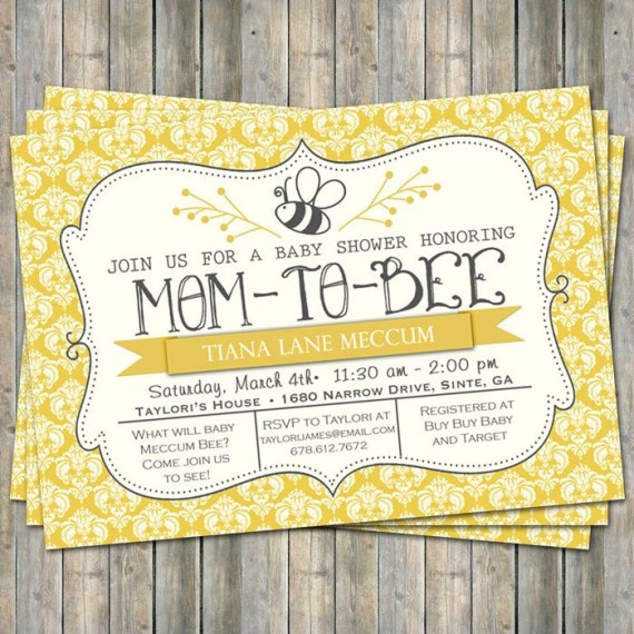 Mom-to Bee shower invitation, yellow, off-white, charcoal, typography shower invitation, digital, printable file