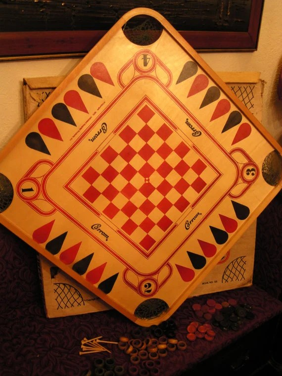 Vintage Carrom Wooden Game Board 1970 With Antique Wood