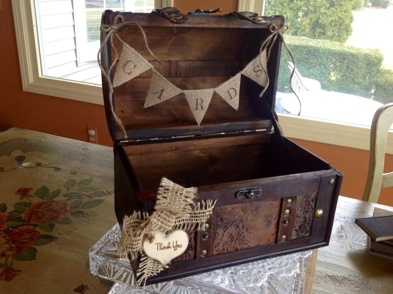 Rustic Wedding Card Box Burlap Banner Personalized