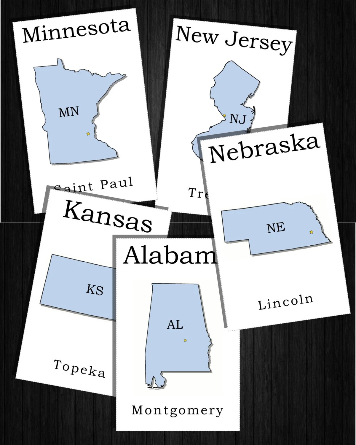 State Flashcards Abbreviations 50 States And Capitals