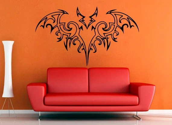 Tribal Halloween Bat - Wall Decal - Medium