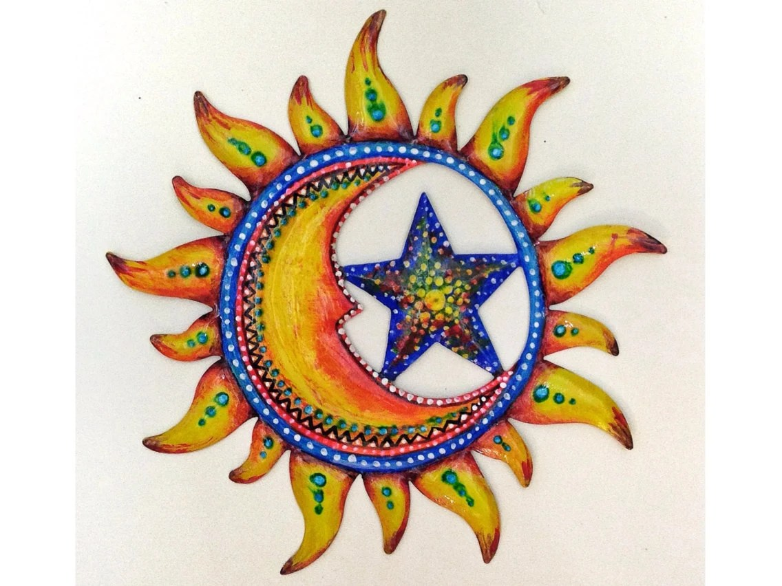 Sun And Moon Painted Wall Decoration Patio Decor By DreamRelic