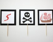 Pirate Party Cupcake Toppers- red, black, white