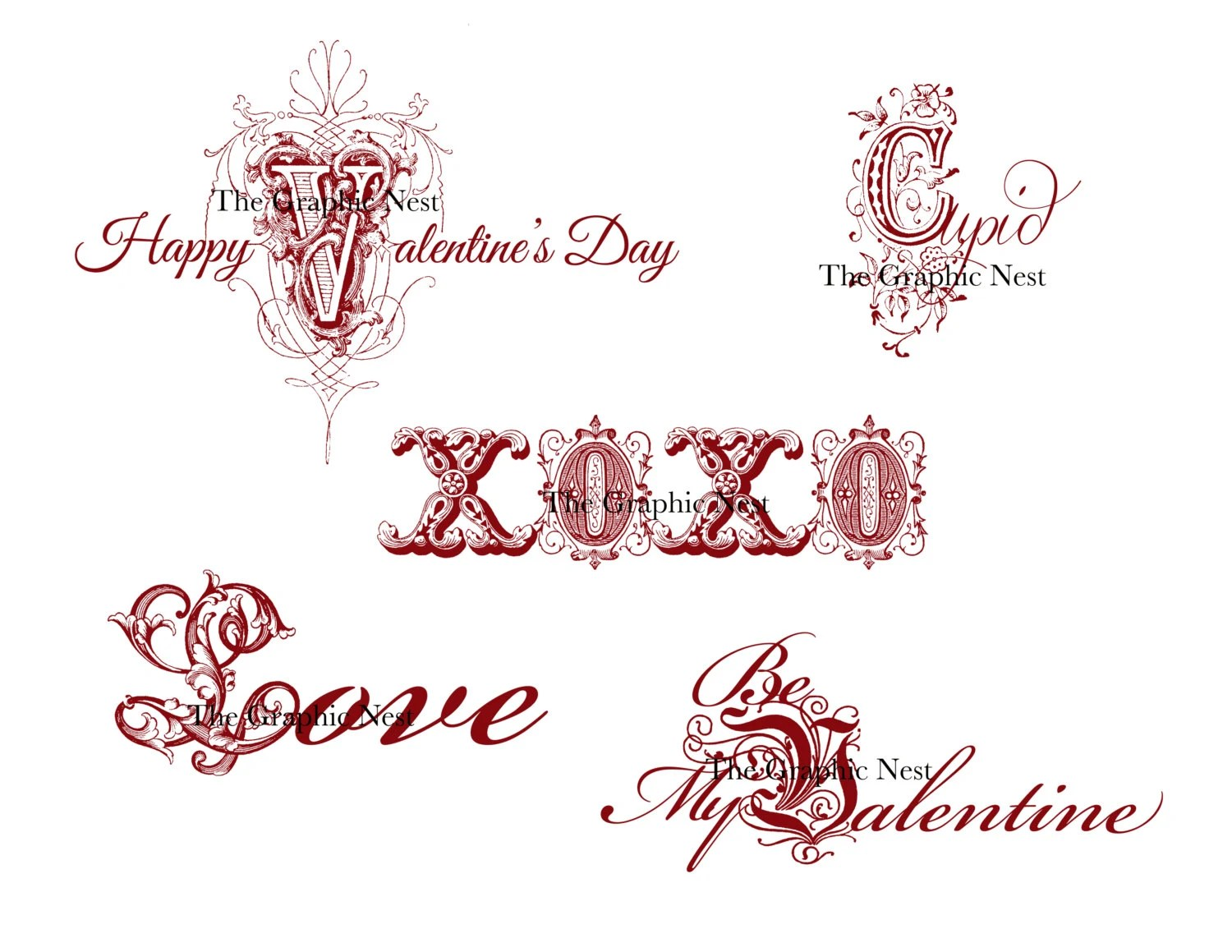 Valentine Word Art From Thegraphicnest On Etsy Studio