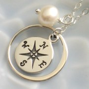 Compass Necklace with Pearl Silver North Star Traveler Journey Necklace Graduation Gift June Birthday Compass Jewelry Compass Necklace
