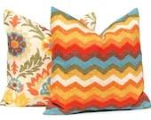 Autumn Fall Pillow Decorative Throw Pillow Covers Pair of Two Waverly Santa Maria Adobe Panama Wave Adobe Chevron Pillows Orange Turquoise - FestiveHomeDecor