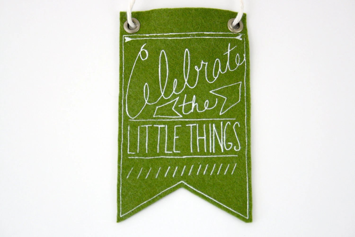 Mini-Banner wall hanging, moss green wool blend felt, screen print in white ink