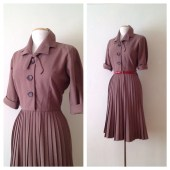 brown 50s dress / 1950s dress womens / 50s shirtwaist dress / pleated skirt