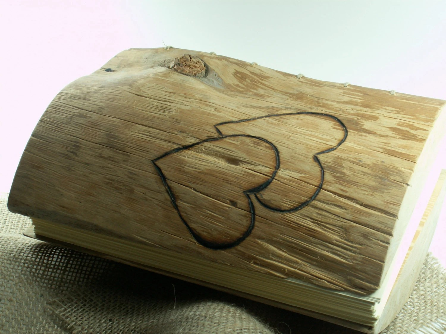 WEDDING GUEST BOOK Wood Journal Two Hearts - woodenartgallery