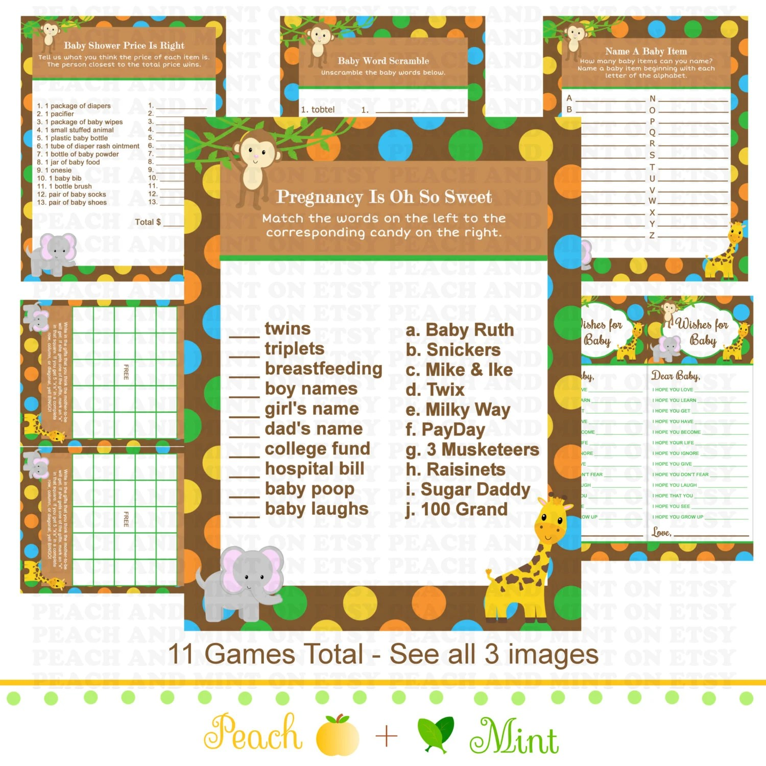 Printable Jungle Animals Baby Shower Games By Peachandmint