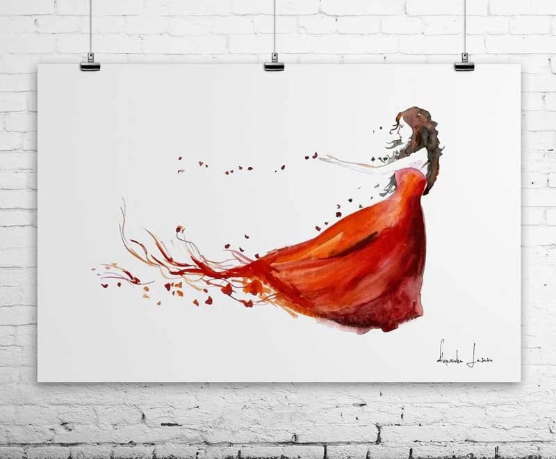 Autumn Woman Giclee Art Print - Red Watercolor Painting - WatercolorPrint