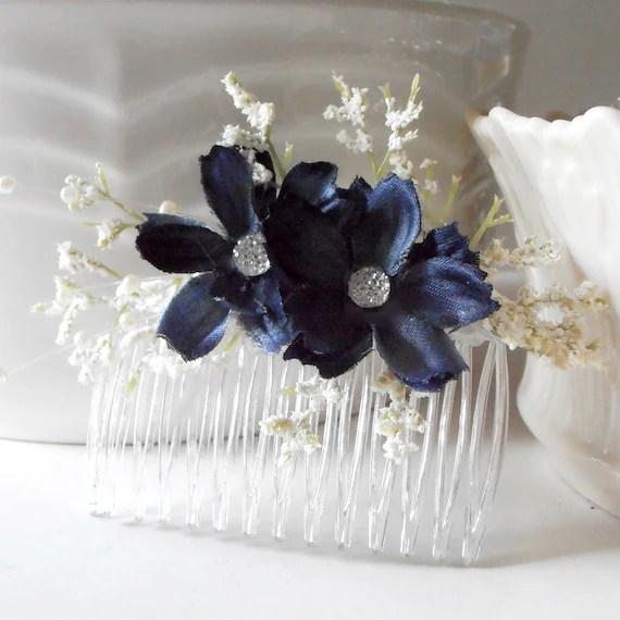 Items Similar To Navy Blue Flower Hair Combs Bridesmaid