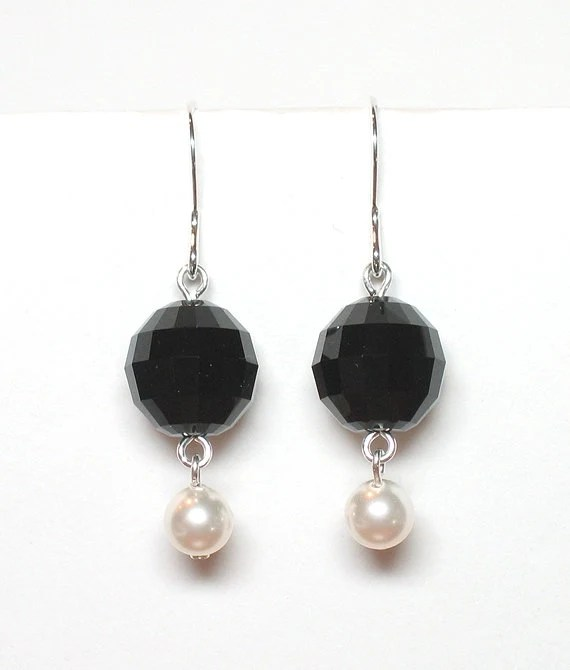 Prestige black & white earrings