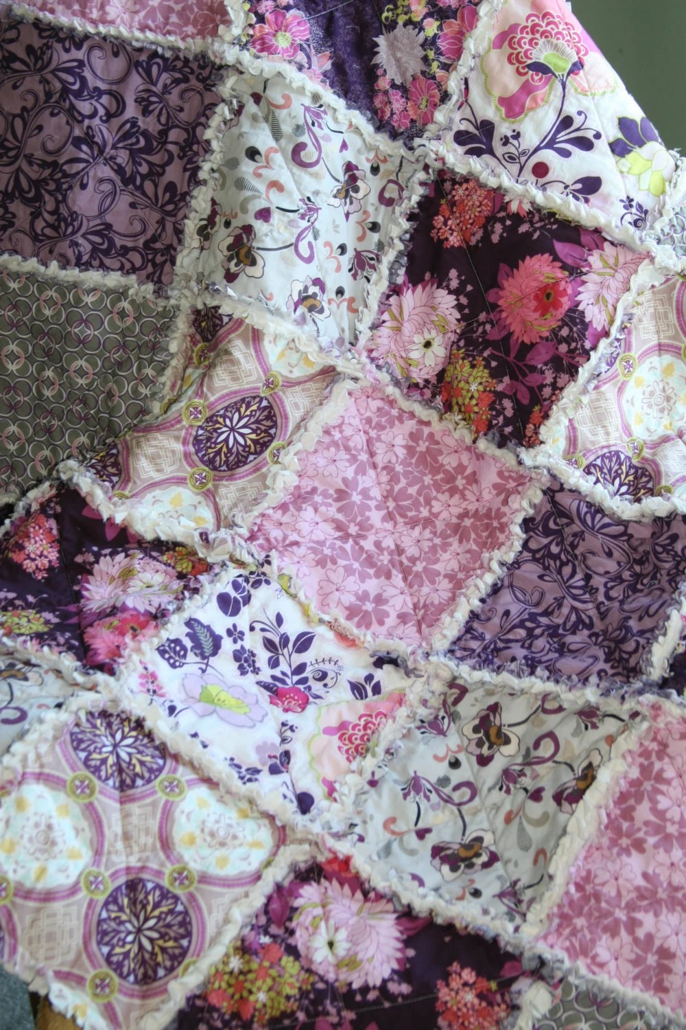 Crib Rag Quilt Baby Girl Crib Bedding Purple Pink Grey Nursery