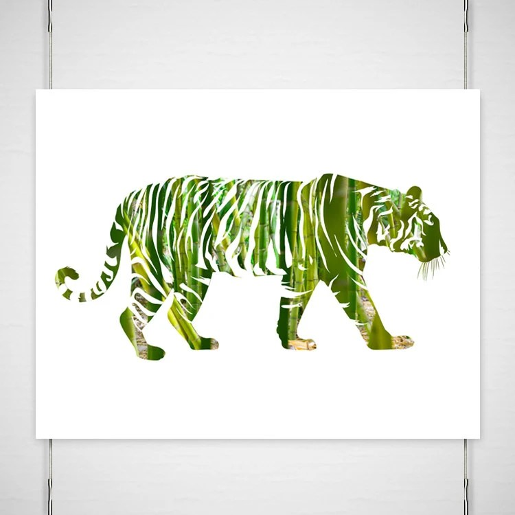 "Bamboo Tiger Photography / digital silhouette print / jungle asian modern minimal fall green emerald  / 11x14 photograph / ""On the Prowl"" - BokehEverAfter"