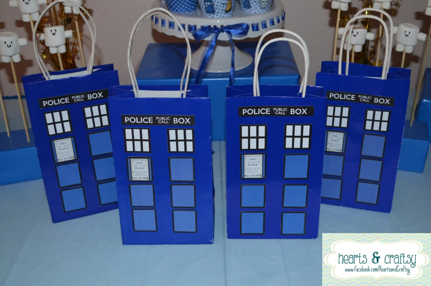Doctor Who Party Favor / Gift Bag Tardis Birthday Party
