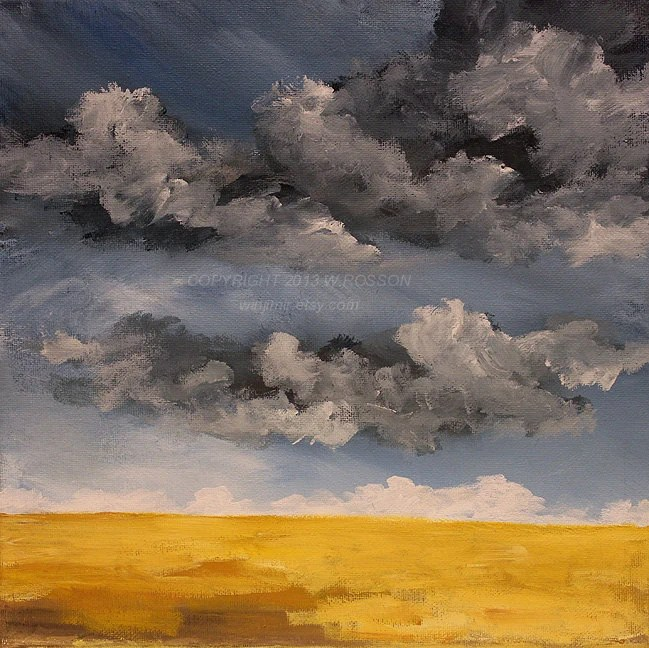 Parched, Rain Clouds, Thunderstorm, Original Painting, Rural, Winjimir, Home Decor, Minimal, Birthday,  New Home, Holiday Gift, Landscape, - winjimir
