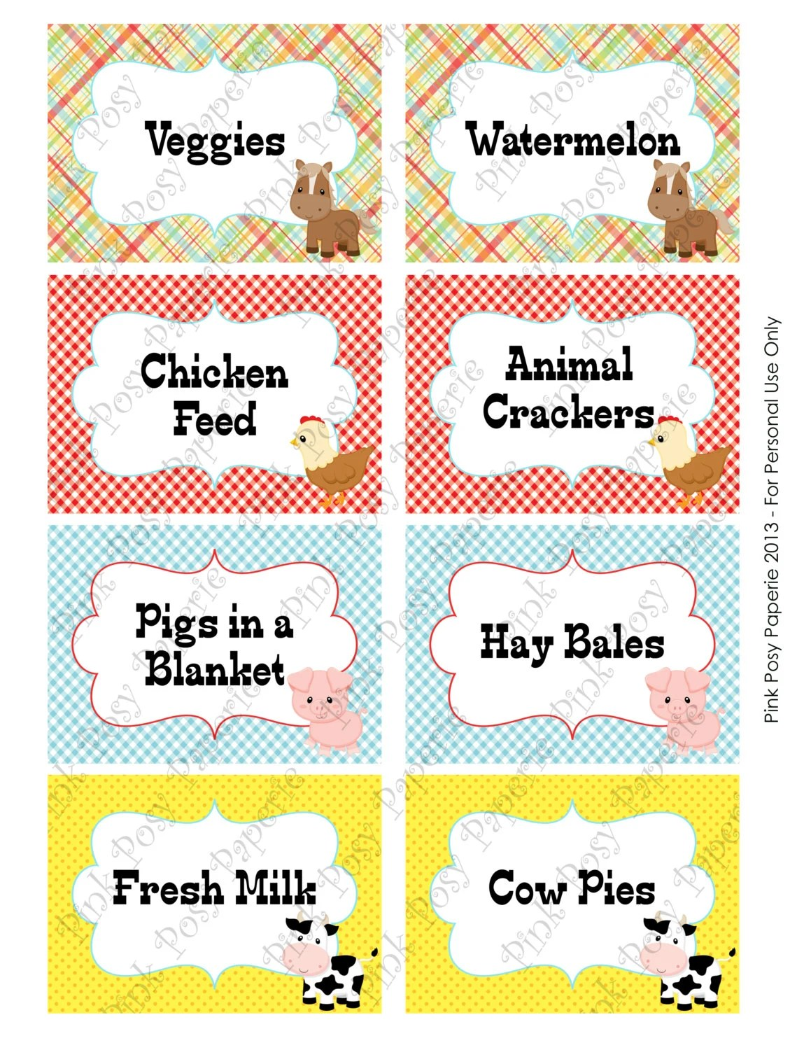 Printable Farm Animal Birthday Food Labels