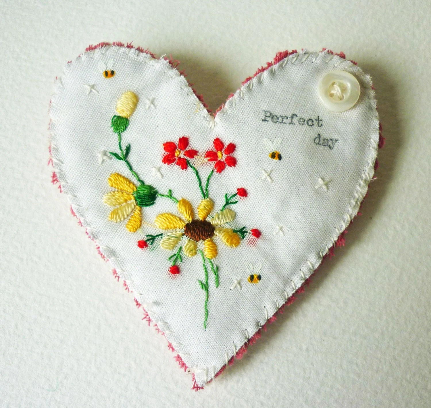Heart shaped Brooch made from vintage finest embroidered Swiss Cotton