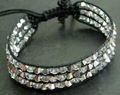 Macrame Bracelet with Swarovski Crystals in Sparkly Silver Adjustable Friendship Bracelet - KillerJewels