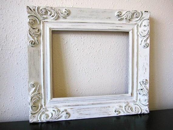 Vintage White Ornate Frame Shabby Chic White Solid Wood Frame