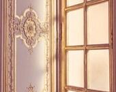 ON SALE Golden Versailles Window Photograph, Paris Photography, Paris Decor, Gold Morning Sunlight, Paris Travel Decor - Morning - MelanieAlexandra