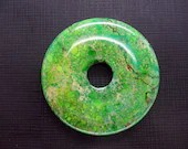 Beautiful Yellow Green Cyan Variscite Sea Sediment Jasper Donut Pendant - ebeadstore