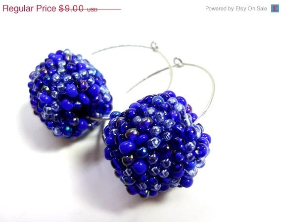 HALF OFF Dark Cobalt Blue Beaded Bead Hoop Earrings - MegansBeadedDesigns