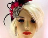 Fascinator, Flapper Headpiece, Roaring 1920's Headpiece, Downton Abbey, Great Gatsby, Gold or Silver Brooch, Black Hot-pink