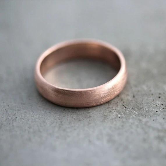 Rose Gold Mens Wedding Band Brushed Matte Mens 5mm