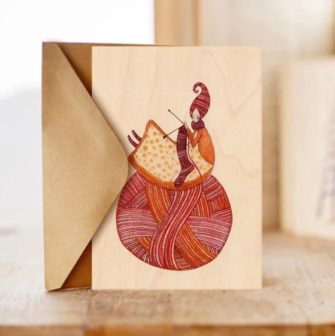 "Wood card  ""Knitting fairy"", For the love of knitting, Romantic, Crochet Card, Yarn, Handmade love, Happy Birthday Card - COZYWOODshop"