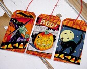 Halloween GIft Wrap Tags Original Fabric Gift Hang Tags Party Favor Tie Ons Place Setting Card Labels itsyourcountry - ITSYOURCOUNTRY