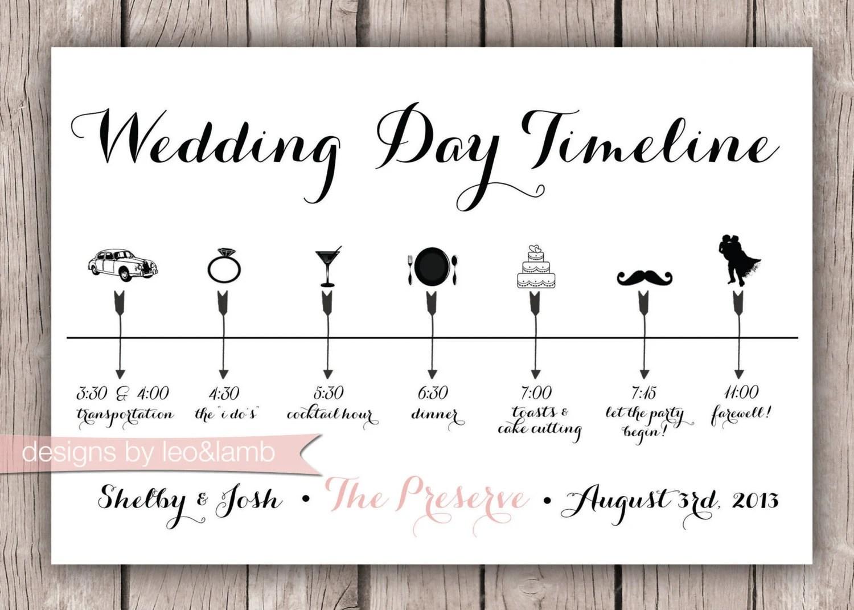 Custom Wedding Timeline 5x7 Digital File By Leoandlambdesigns