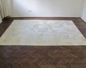 White Cowhide Patchwork Rug 2540         240 cm x 180 cm (7.9 ft x 5.9 ft) - CowhideCreations