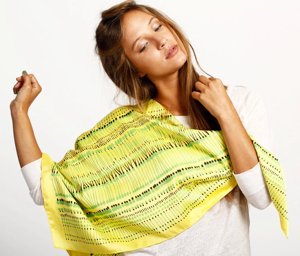 Yellow silk scarf, vibrant Green and Black African inspired design by Dikla Levsky - DiklaLevskyDesign