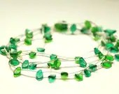 Glass necklace and rubber. Necklace with green leaves. Crew neck and long necklace. Light Necklace - INTERFERENZEdesiGn