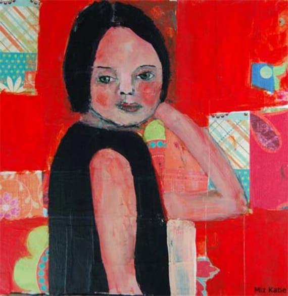 Acrylic Portrait Collage Painting 10x10 Canvas Original, Mixed Media, Woman, Face, Orange