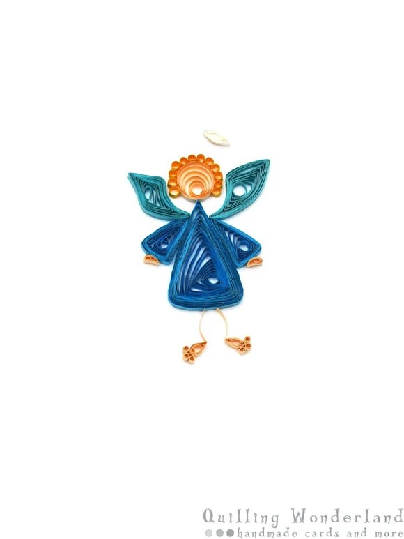 Christmas Angel - quilled greeting card, blue paper quilling