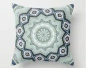 Geometric Pillow Cover, Decorative Throw Pillow, Teal Mint Blue. Mandala Zen, Bedroom - LongForgotten
